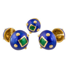 David Webb Blue and Green Enamel and Gold Cufflinks with Tie Tack