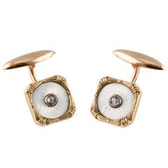 Russian 19th Century Enamel Diamond Gold Cufflinks