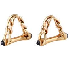 Cartier Sapphire Gold Triangular Link Cufflinks