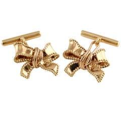 Christian Dior Gold Ribbon Bow Cufflinks