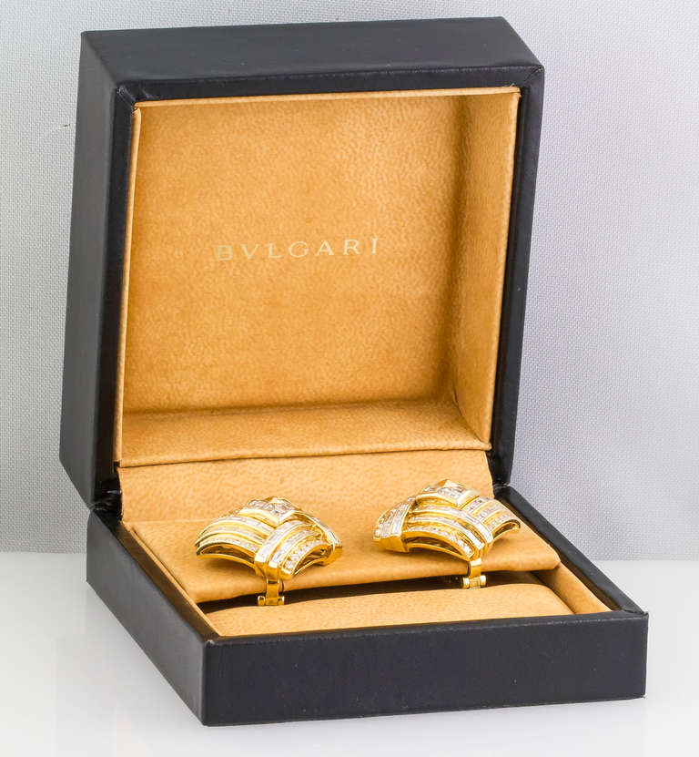 1980s Bulgari Important Diamond Gold Earclips 8
