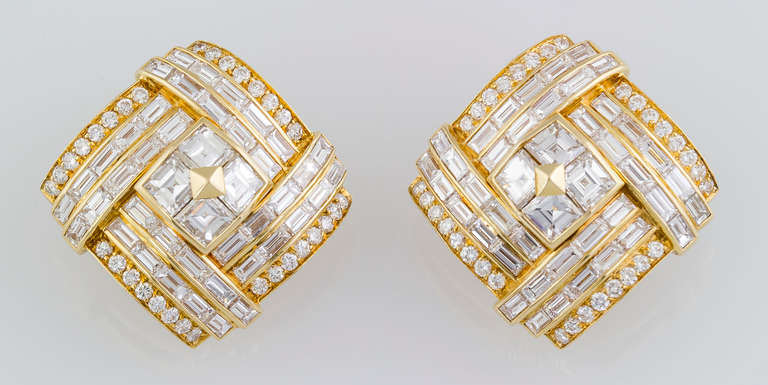 1980s Bulgari Important Diamond Gold Earclips 2