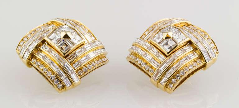 1980s Bulgari Important Diamond Gold Earclips 3