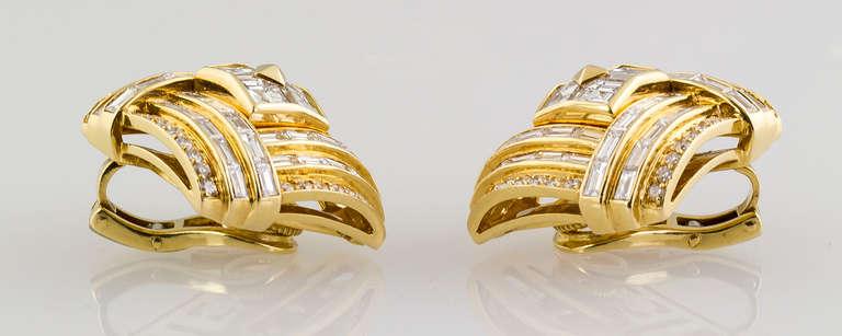 1980s Bulgari Important Diamond Gold Earclips 4