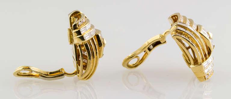 1980s Bulgari Important Diamond Gold Earclips 5