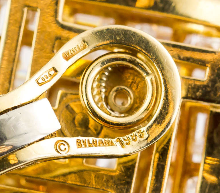 1980s Bulgari Important Diamond Gold Earclips 7