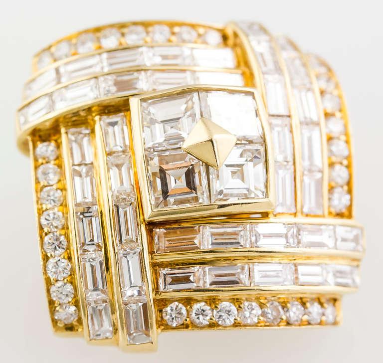 1980s Bulgari Important Diamond Gold Earclips 6