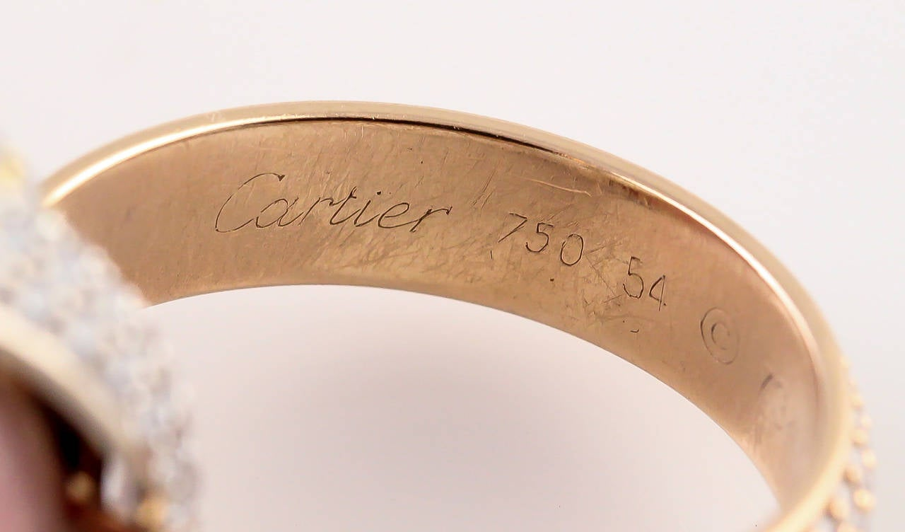 Cartier Trinity Wide Diamond Three Color Gold Rolling Ring In Excellent Condition For Sale In New York, NY