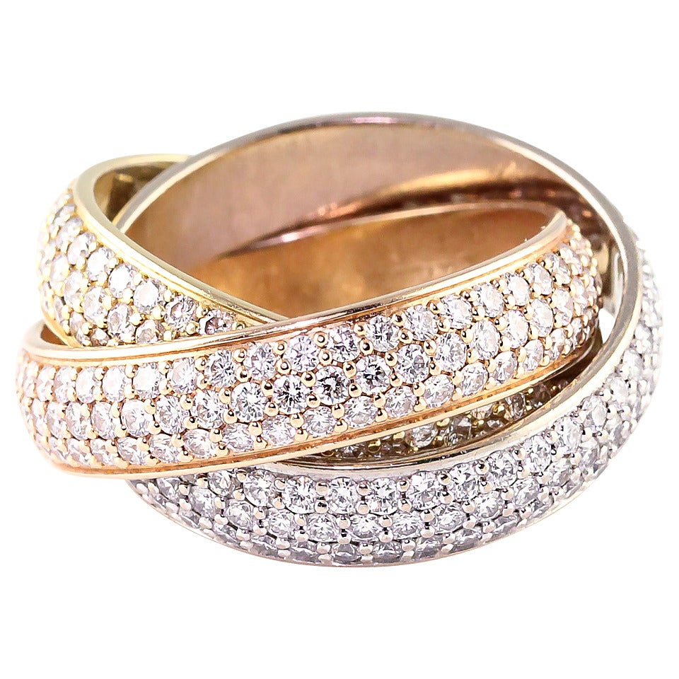 Cartier Trinity Wide Diamond Three Color Gold Rolling Ring For Sale