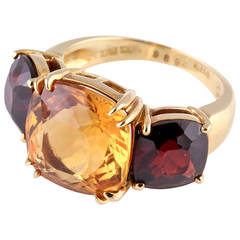 Seaman Schepps Citrine Garnet Gold Three Stone Ring