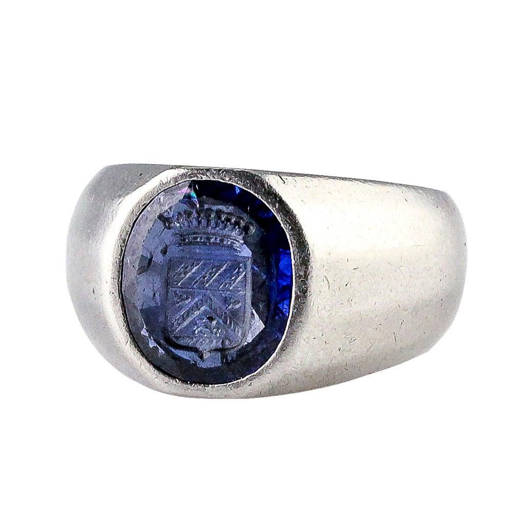 cartier deco burma sapphire platinum signet ring at