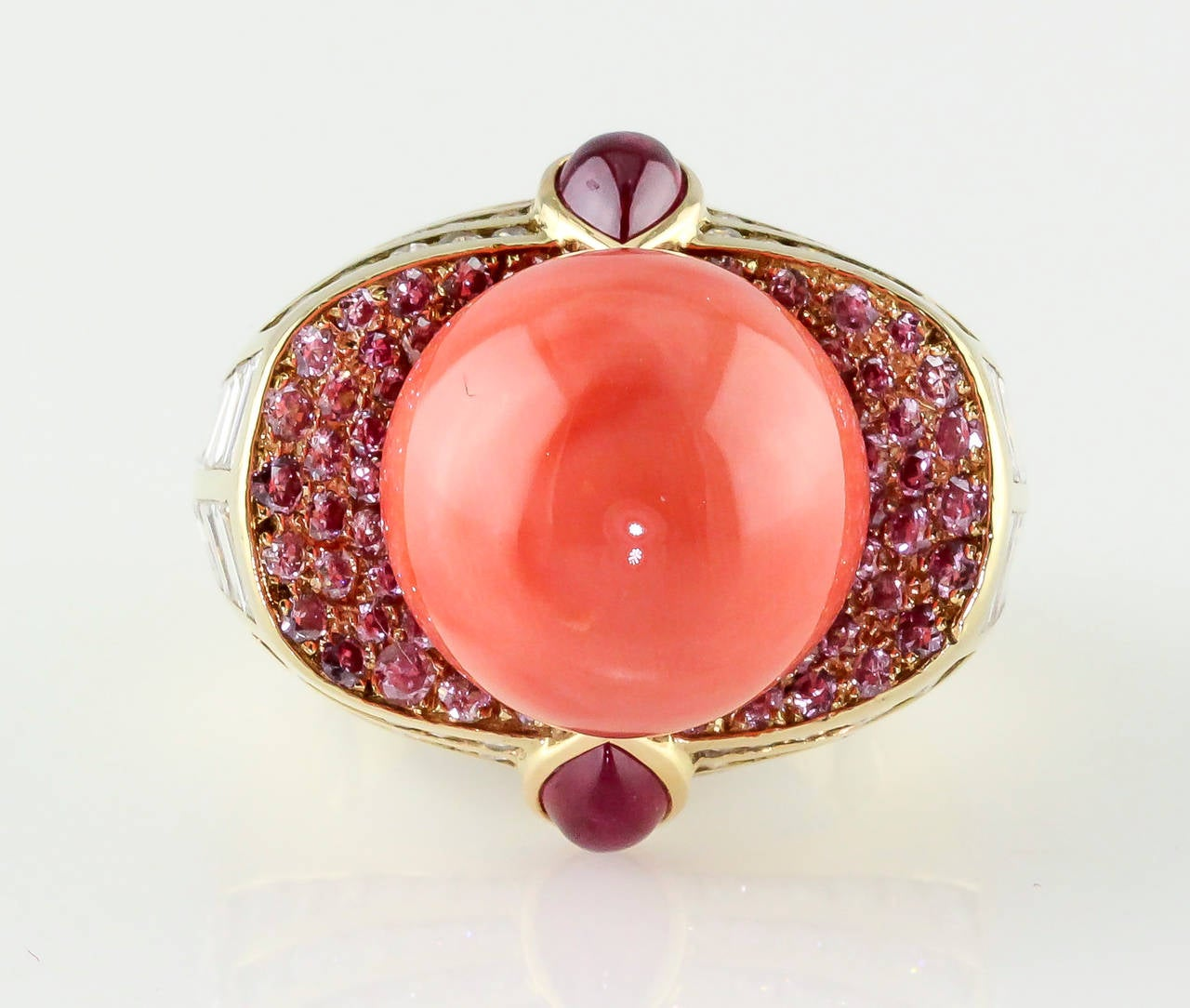 Pink Ruby Jewellery: Mauboussin Coral Pink Ruby Diamond Gold Ring For Sale At