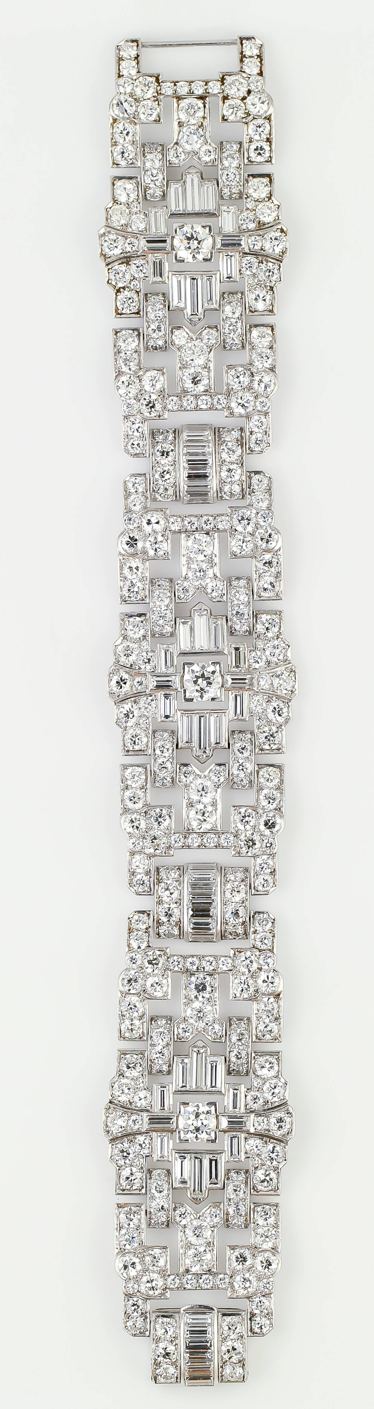 Impressive Art Deco 32 Carat Wide Diamond Platinum Bracelet 2