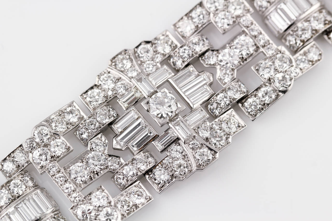 Impressive Art Deco 32 Carat Wide Diamond Platinum Bracelet 4