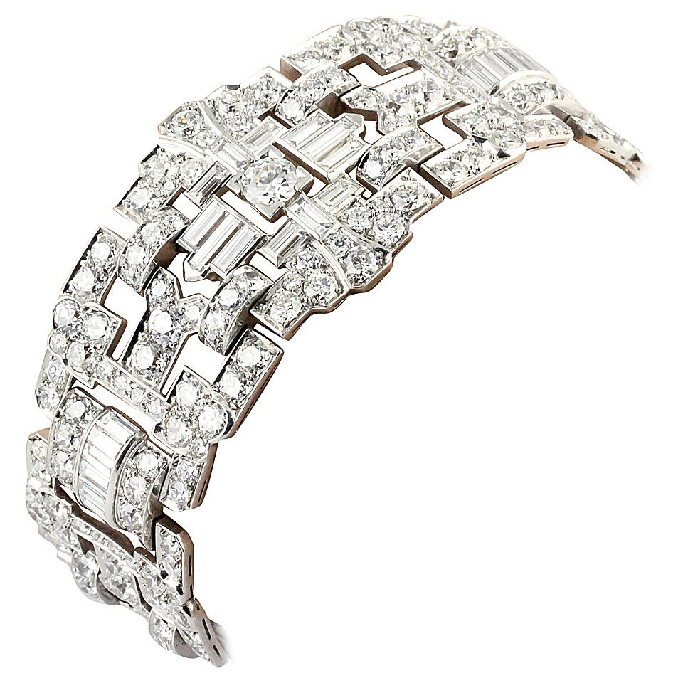 Impressive Art Deco 32 Carat Wide Diamond Platinum Bracelet 1