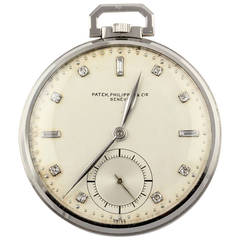 Patek Philippe Platinum Diamond Manual Pocket Watch Ref 600