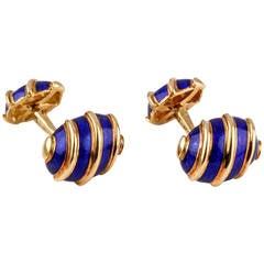 Tiffany & Co. Schlumberger Olives Blue Enamel Gold Cufflinks