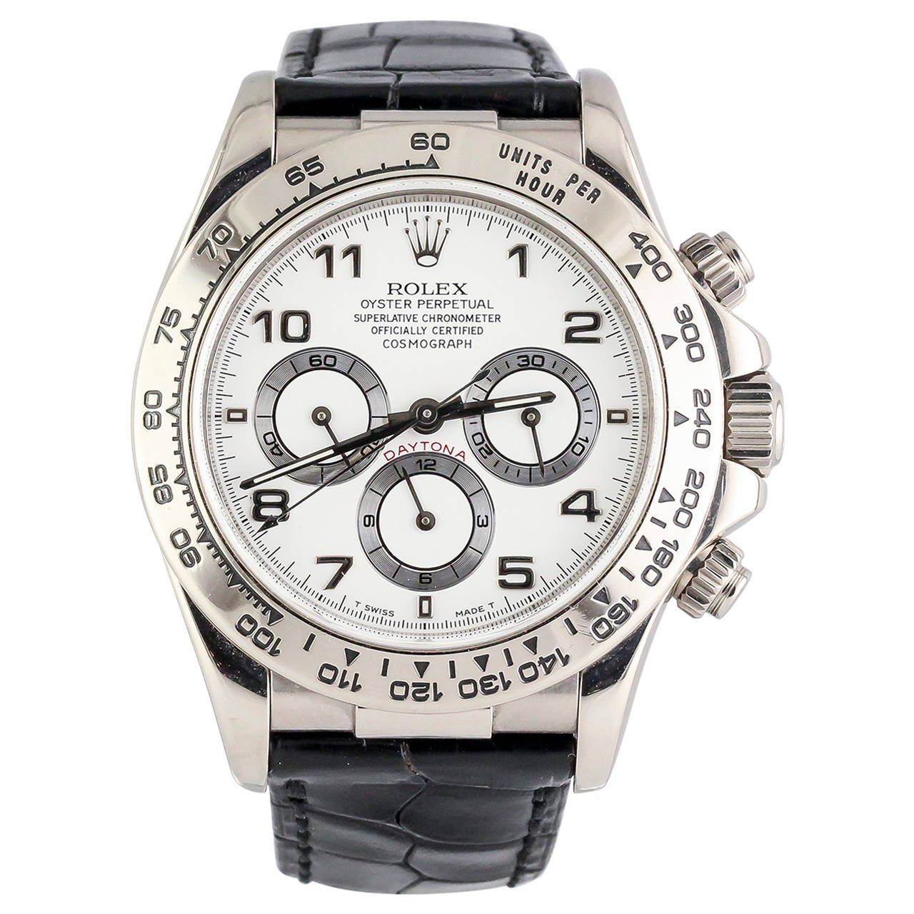 Rolex White Gold Daytona Chronograph Automatic Wristwatch