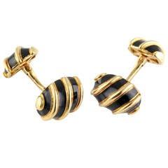 Tiffany & Co. Schlumberger Black Enamel Gold Olives Cufflinks