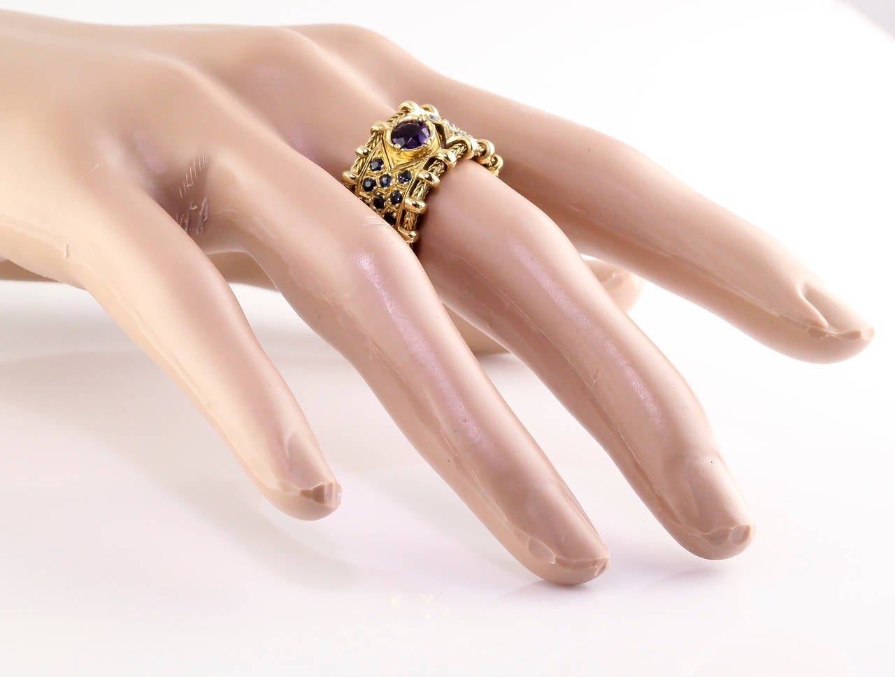 Elizabeth Gage Sapphire Amethyst Gold Flexible Band Ring For Sale at ...
