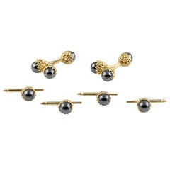Tiffany & Co. Schlumberger Hematite Gold Double Acorn Cufflink and Stud Set