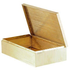 Cartier Large Retro Gold  Ribbed Cigar Table Box
