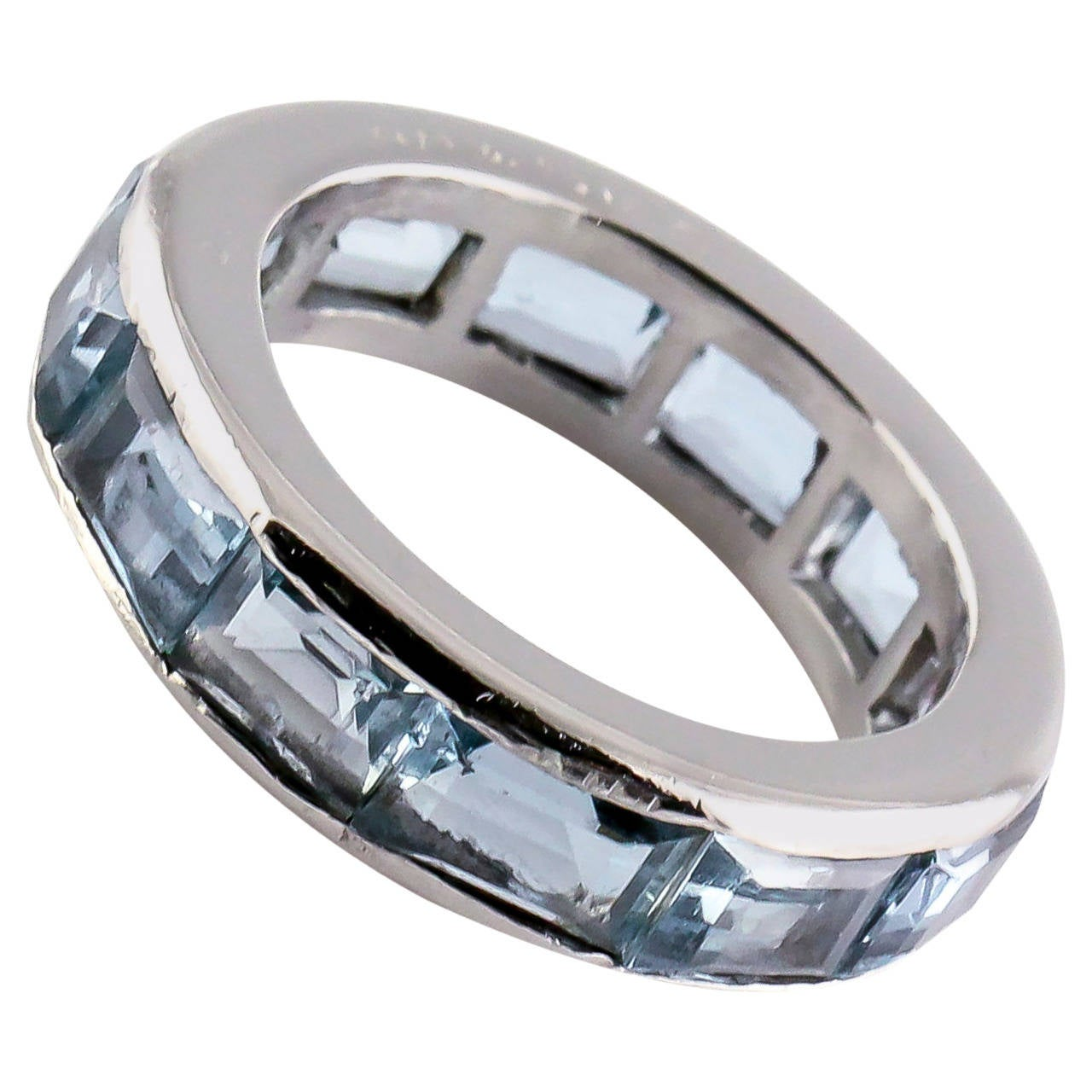 id j aquamarine wedding rings Oscar Heyman Aquamarine Platinum Band Ring 1