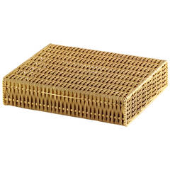 Tiffany & Co. Schlumberger Gold Basket Weave Box