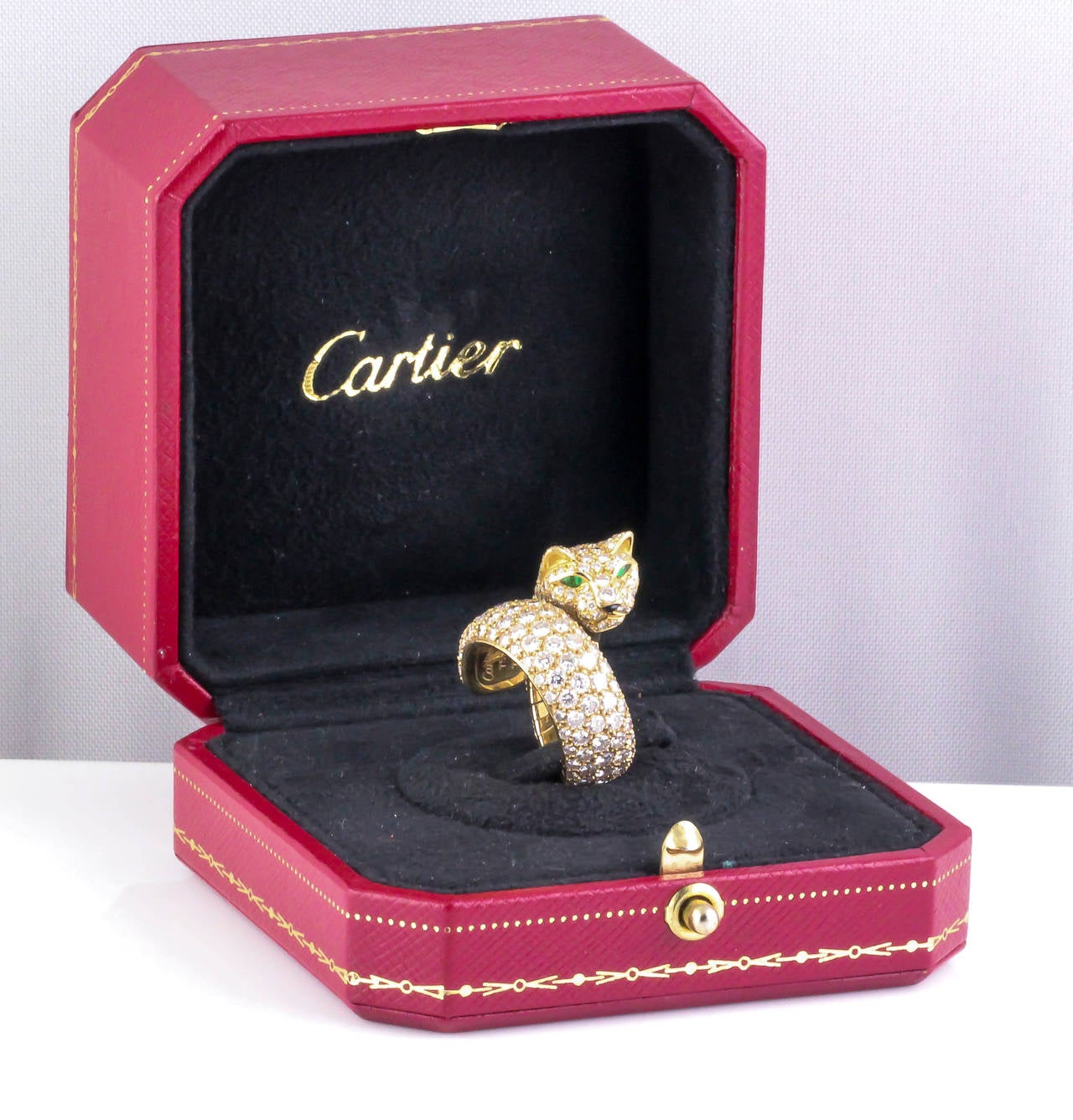 CARTIER PANTHER Diamond Emerald Enamel and Gold Ring 2