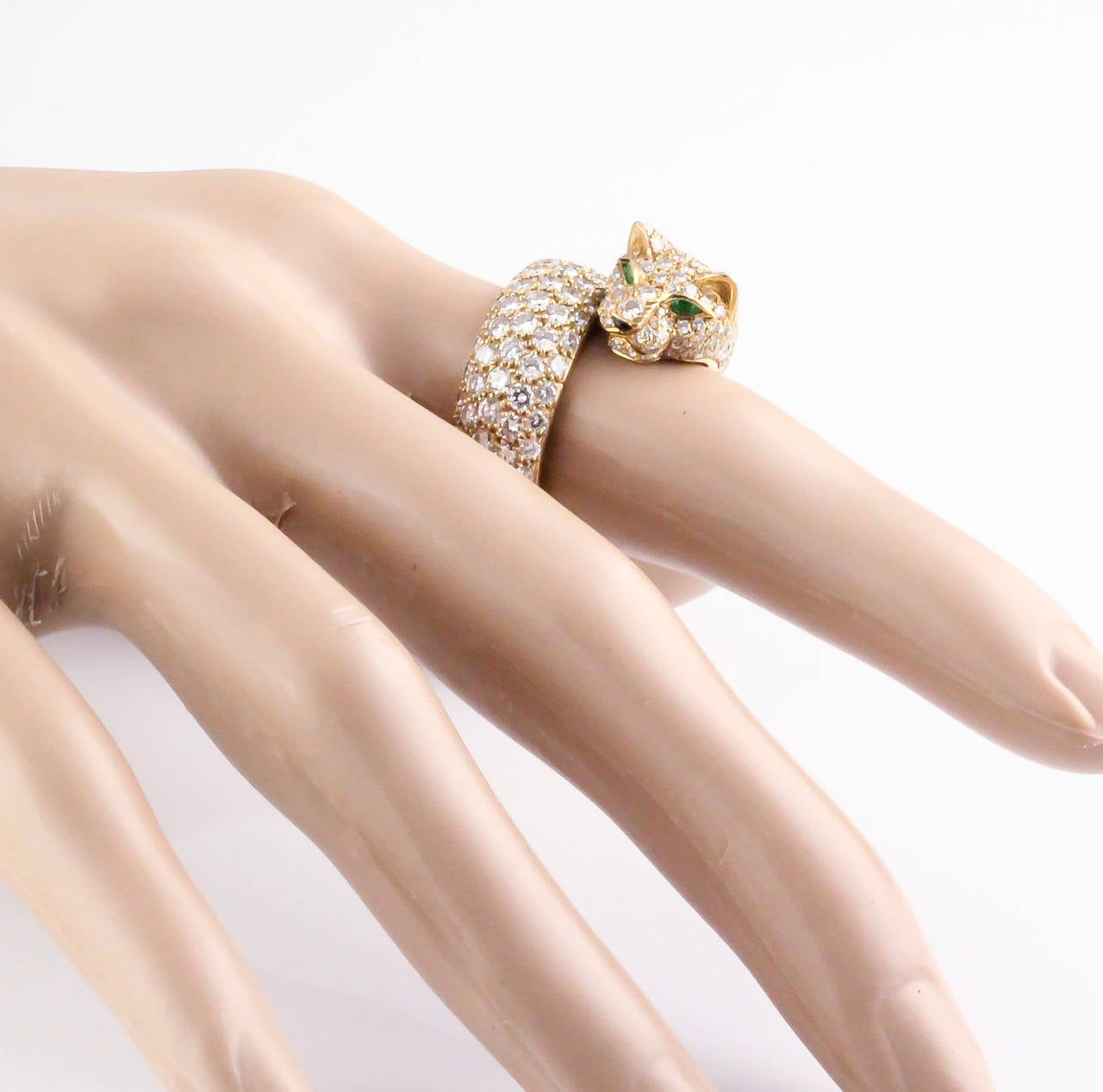 CARTIER PANTHER Diamond Emerald Enamel and Gold Ring 3