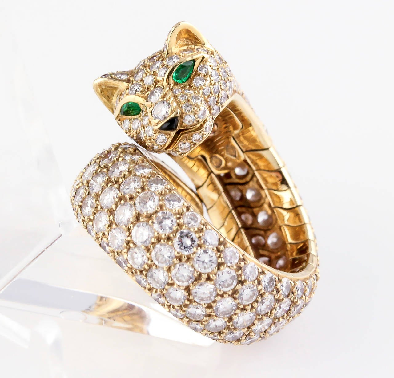 CARTIER PANTHER Diamond Emerald Enamel and Gold Ring 4