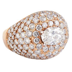 FRENCH Diamond and Pink Gold Dome Ring