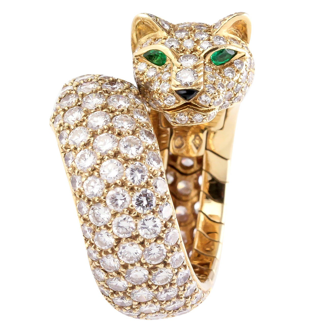 Cartier Panther Diamond Emerald Enamel and Gold Ring at 1stdibs