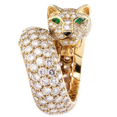 Cartier Panther Diamond Emerald Enamel and Gold Ring