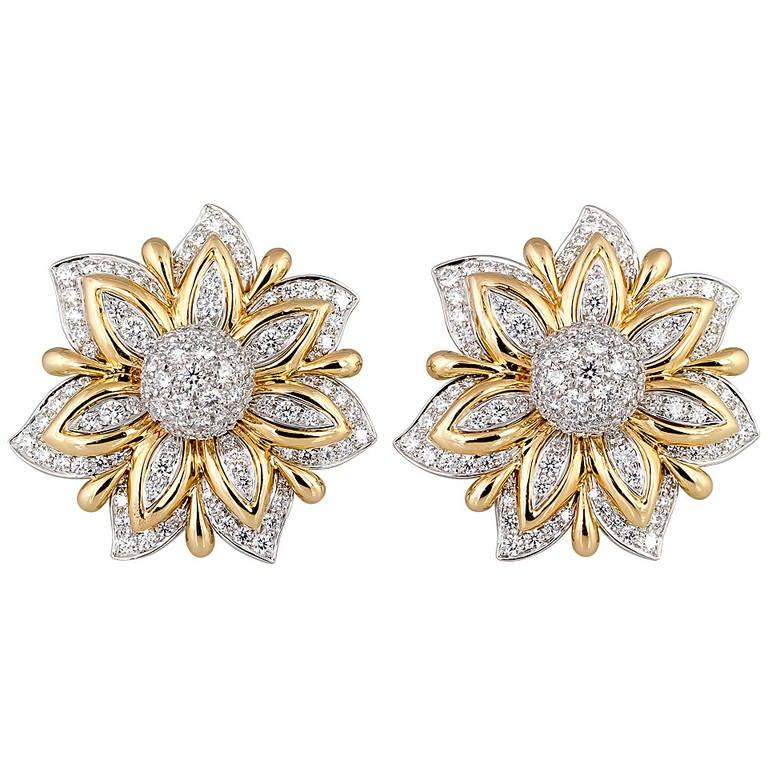 Verdura Diamond Gold Platinum Primrose Earclips