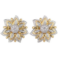 Verdura Diamond Gold Platinum Primrose Earclips
