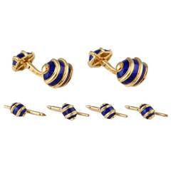 Tiffany & Co. Schlumberger Blue Enamel Yellow Gold Cufflink and Stud Set
