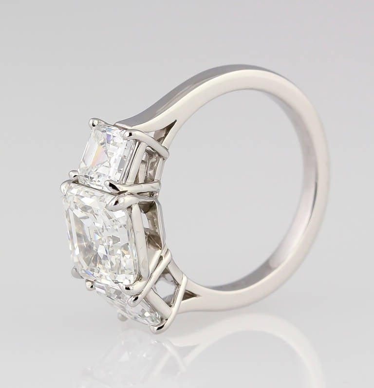 Tiffany and Co Three Stone Diamond Platinum Engagement Ring at 1stdibs