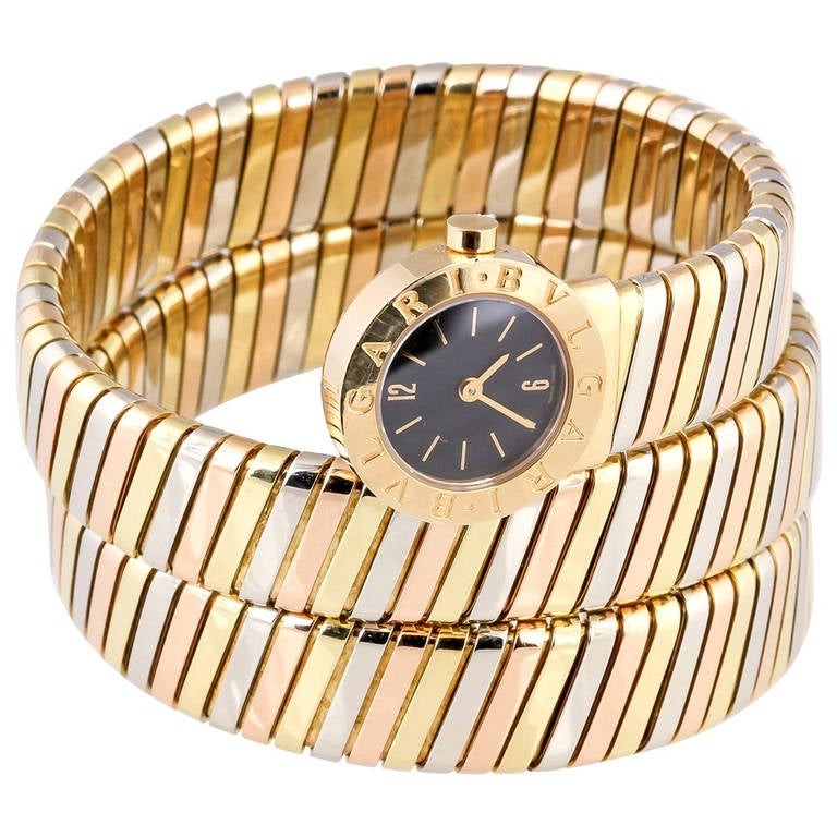Bulgari Ladies Tricolor Gold Tubogas Snake Quartz Wristwatch, circa 1980s