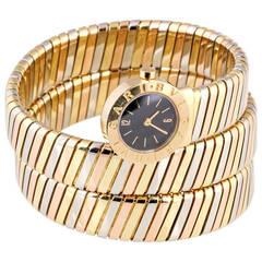 Bulgari Ladies Tricolor Gold Tubogas Snake Quartz Wristwatch, circa 1980s