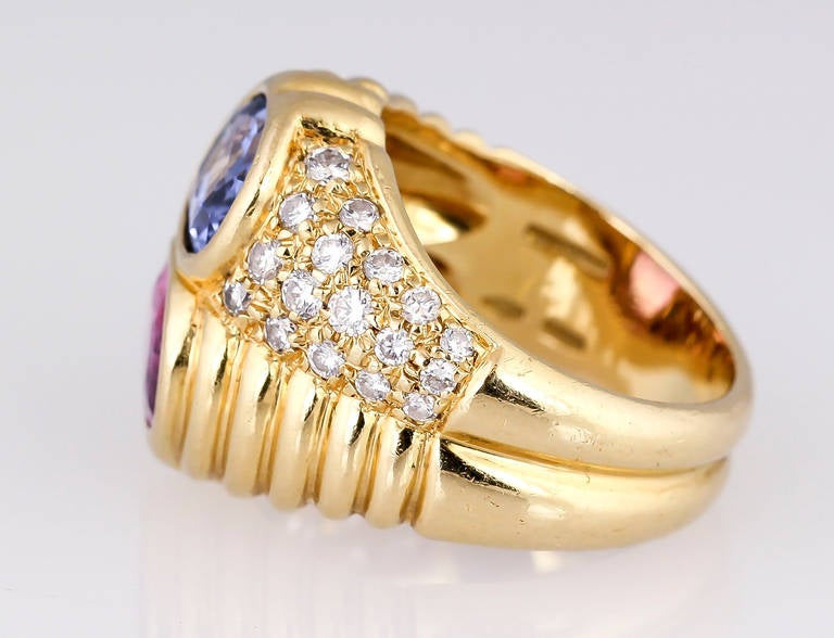 Contemporary Bulgari Blue and Pink Sapphire Diamond Gold Ring For Sale