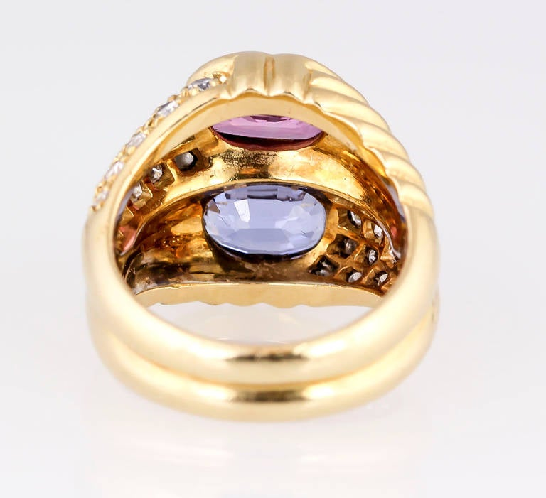 Women's Bulgari Blue and Pink Sapphire Diamond Gold Ring For Sale
