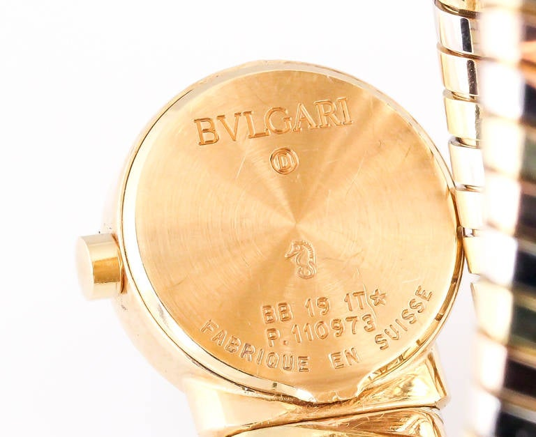 Bulgari Ladies Tricolor Gold Tubogas Snake Quartz Wristwatch, circa 1980s In Excellent Condition For Sale In New York, NY