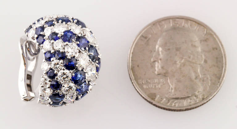 Contemporary Sapphire Diamond Gold Dome Earrings For Sale