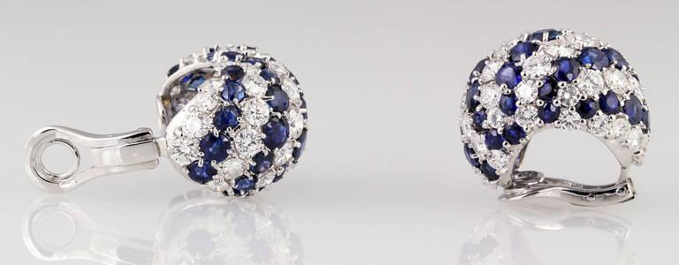 Women's Sapphire Diamond Gold Dome Earrings For Sale