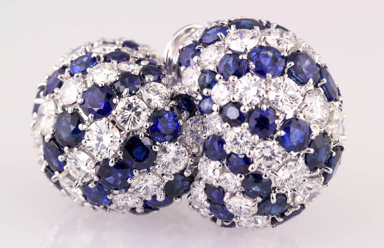 Sapphire Diamond Gold Dome Earrings For Sale 1