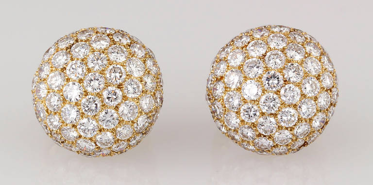 Contemporary Cartier Diamond Gold Dome Earrings For Sale