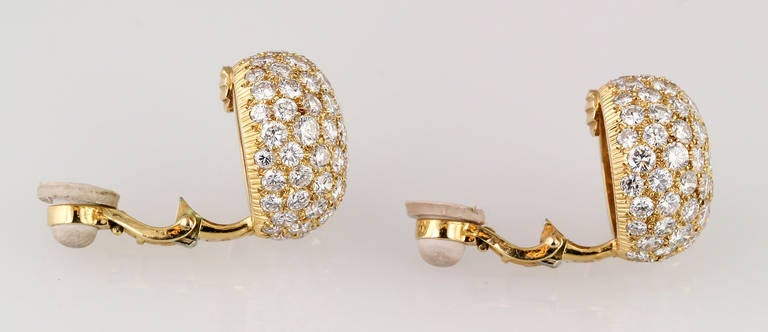 Cartier Diamond Gold Dome Earrings 5