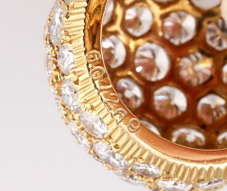 Cartier Diamond Gold Dome Earrings For Sale 2