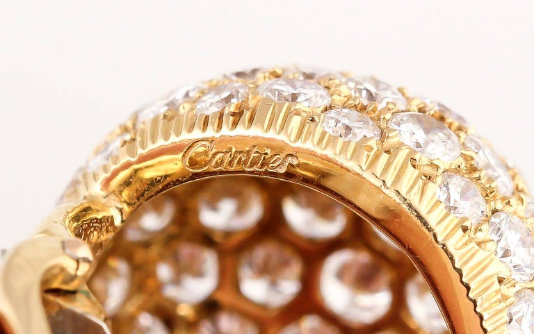 Cartier Diamond Gold Dome Earrings For Sale 1